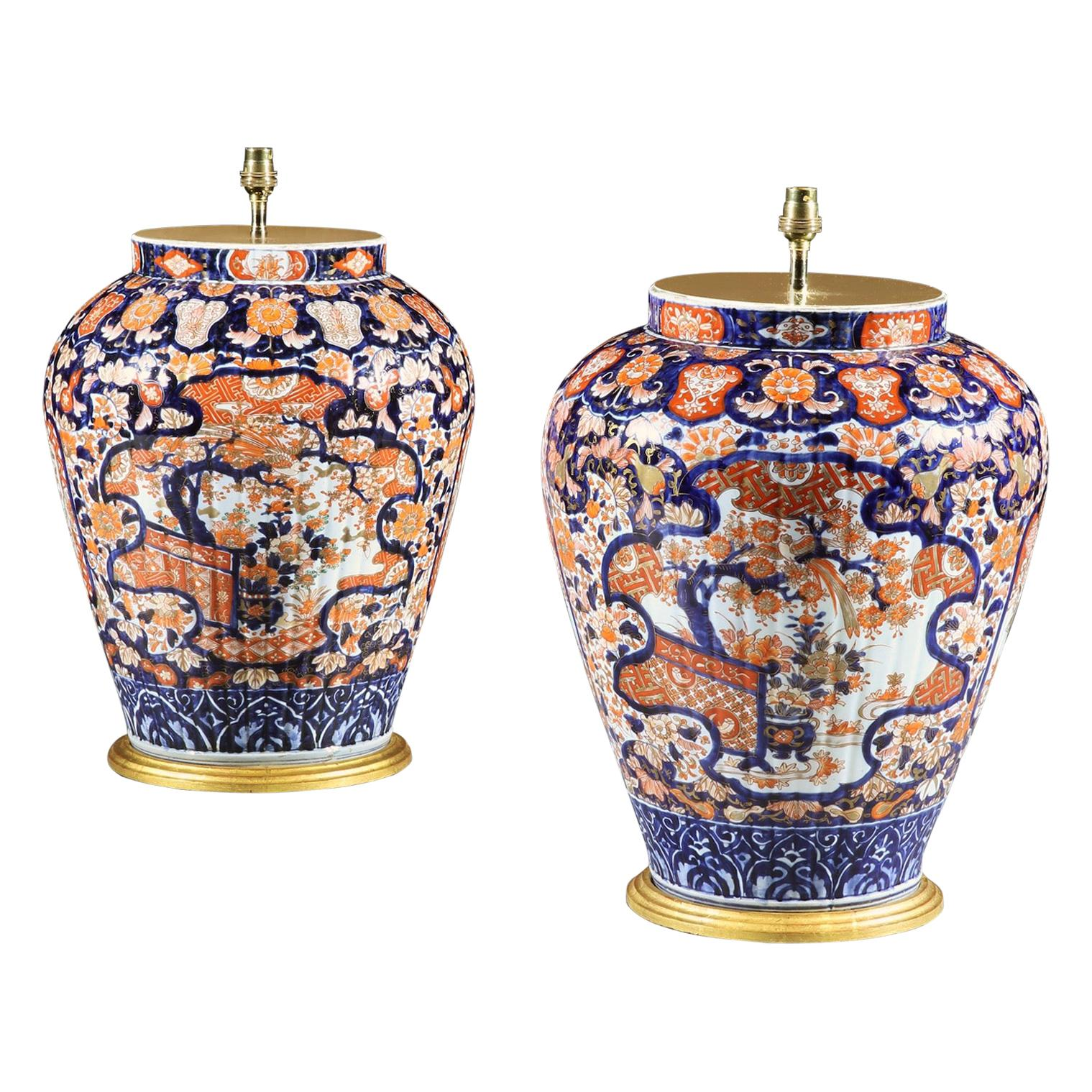 Pair of 19th Century Very Large Imari Japanese Porcelain Antique Table Lamps