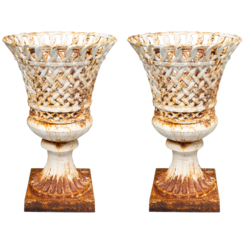 Pair of 19th Century Victorian Cast Iron Garden Urns