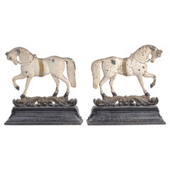 Pair of 19th Century Victorian Cast Iron Horse Door Stops