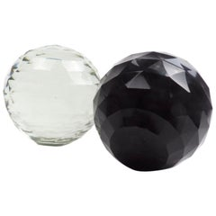Pair of Large 19th Century Victorian Faceted Cut Glass Ball Paperweights