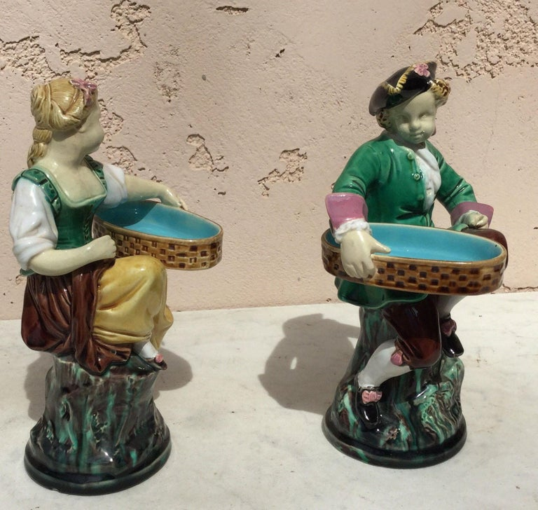 English Pair of 19th Century Victorian Majolica Figural Salt Cellars Minton For Sale