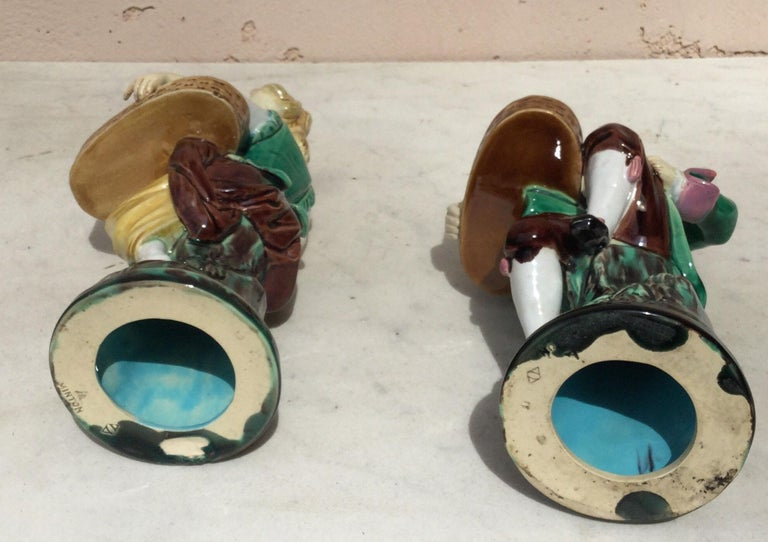 Late 19th Century Pair of 19th Century Victorian Majolica Figural Salt Cellars Minton For Sale