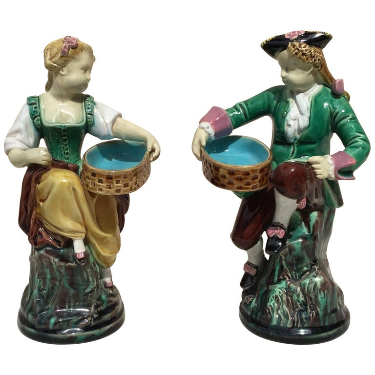 Pair of 19th Century Victorian Majolica Figural Salt Cellars Minton For Sale