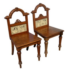 Pair of 19th Century Victorian Oak Hall Chairs