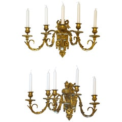 Pair of 19th Century Wall-Light Scones Louis XVI Style French Gilt Bronze