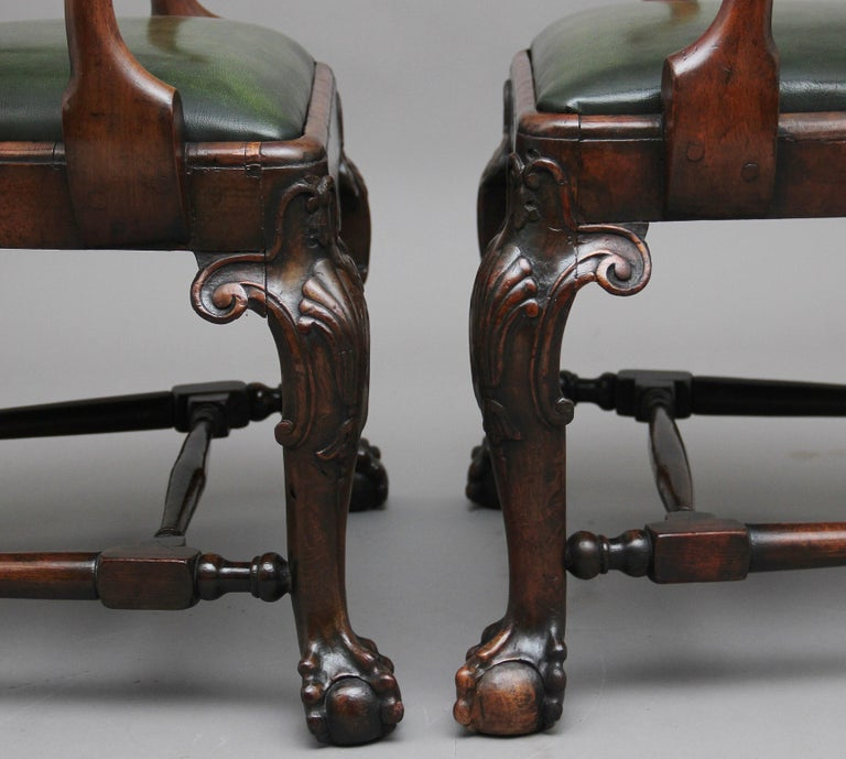 Late 19th Century Pair of 19th Century Walnut Armchairs For Sale