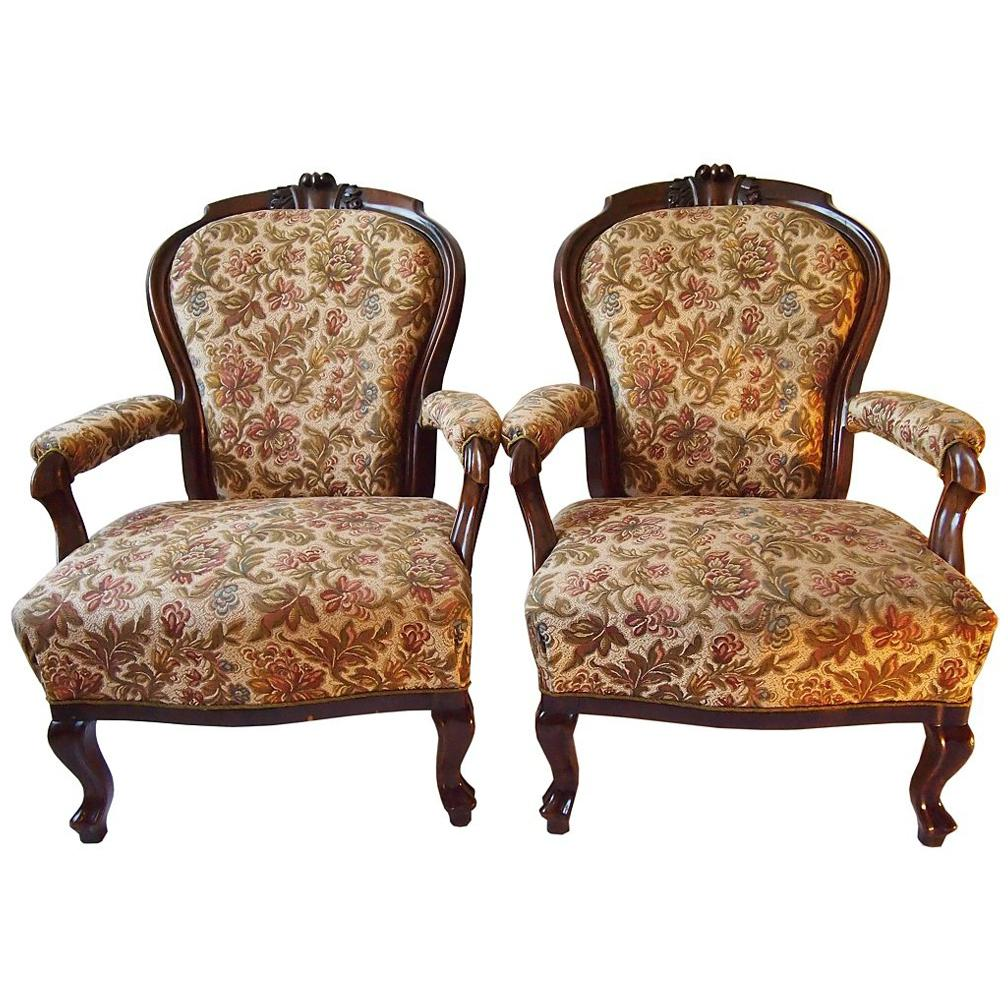 Pair of 19th Century Walnut Armchairs