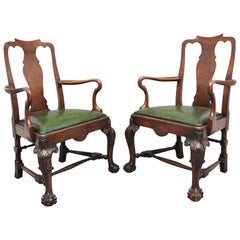Pair of 19th Century Walnut Armchairs