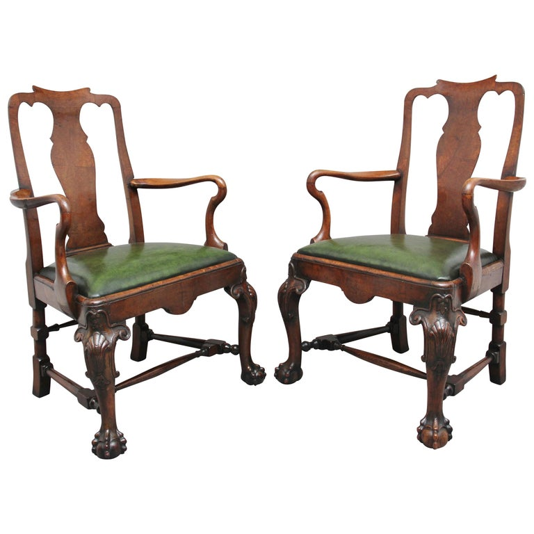 Pair of 19th Century Walnut Armchairs For Sale