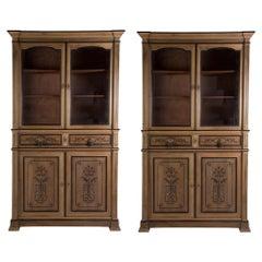 Pair of 19th Century Walnut Bookcases