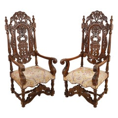 Pair of 19th Century Walnut Jacobean Style Armchairs