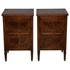 Pair of 19th Century Walnut Side Tables with Cabinets