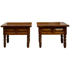 Pair of 19th Century Walnut Side Tables with Raised Panels and Turned Legs