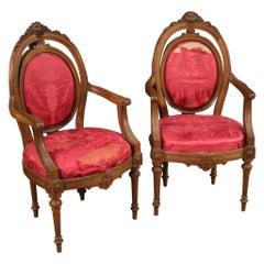Pair of 19th Century Walnut Wood Italian Louis XVI Style Armchairs, 1850