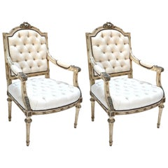 Pair of 19th Century White Louis XVI Armchairs in Beige Linen