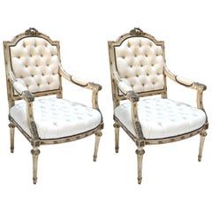 Pair of 19th Century White Louis XVI Armchairs in Beige Linen