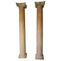 Pair of 19th Century Wood Columns