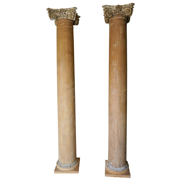 Columns For Sale >> Pair Of 19th Century Wood Columns For Sale At 1stdibs