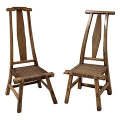 Pair of 19th Century Wood/Woven Chinese Chairs