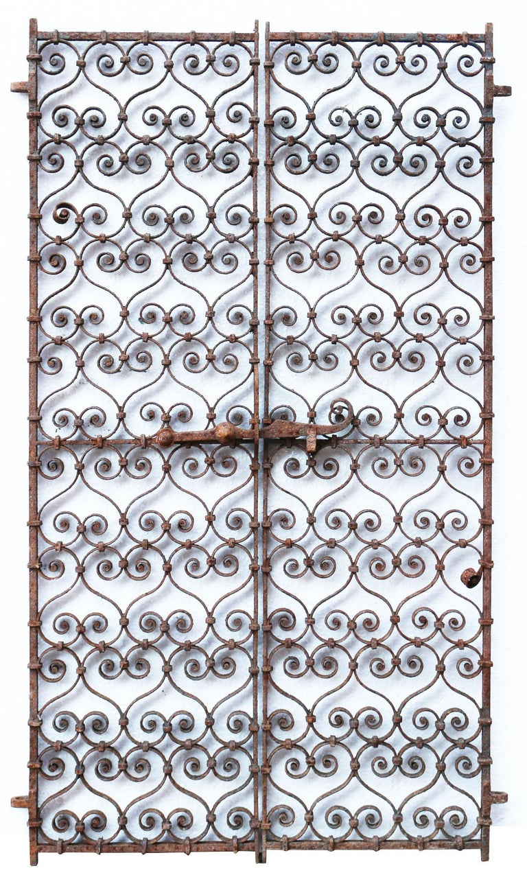 Victorian Pair of 19th Century, Wrought Iron Ornate Window Grills For Sale