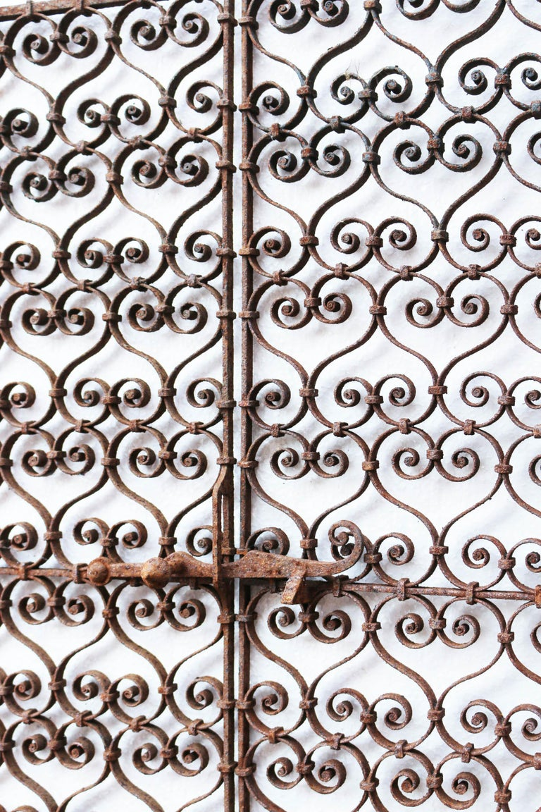 English Pair of 19th Century, Wrought Iron Ornate Window Grills For Sale