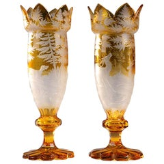 Pair of 19th Century Yellow Bohemian Crystal Vases
