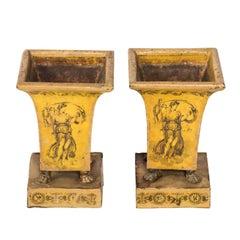 Pair of 19th Century Yellow Tole Jardiniere