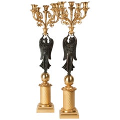 Pair of 19th-Century Empire Style Bronze and Gilt Candelabras