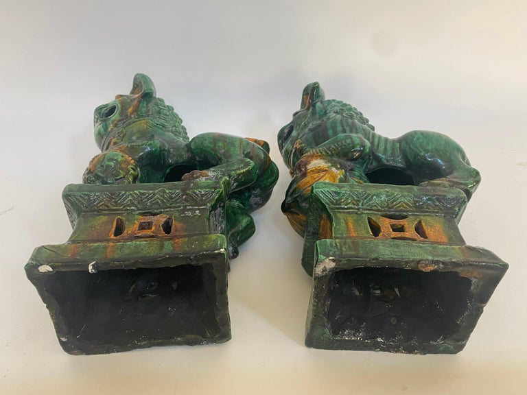 Pair of 19th Chinese Tri-Colored Glazed Foo Lions /Dogs For Sale 3