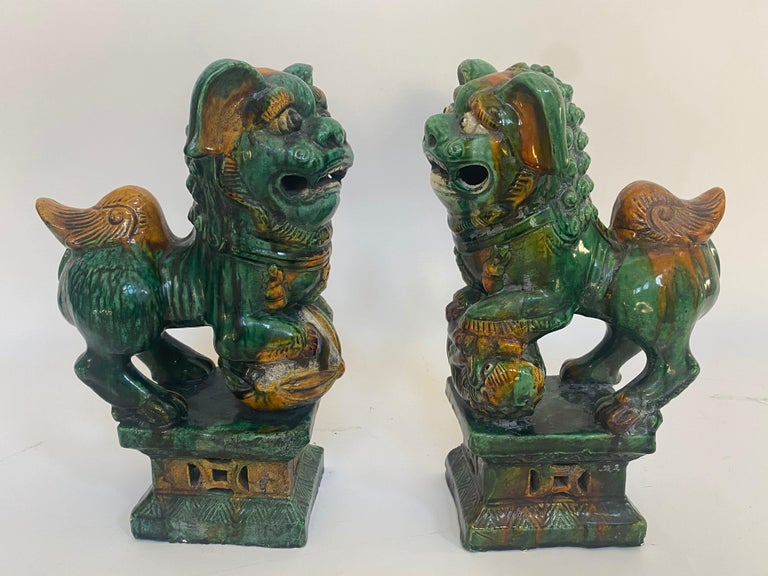 Carved Pair of 19th Chinese Tri-Colored Glazed Foo Lions /Dogs For Sale