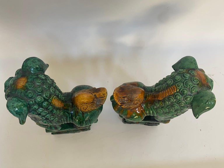 Ceramic Pair of 19th Chinese Tri-Colored Glazed Foo Lions /Dogs For Sale
