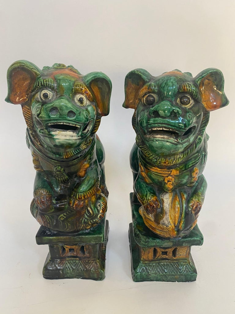 Pair of 19th Chinese Tri-Colored Glazed Foo Lions /Dogs For Sale 1