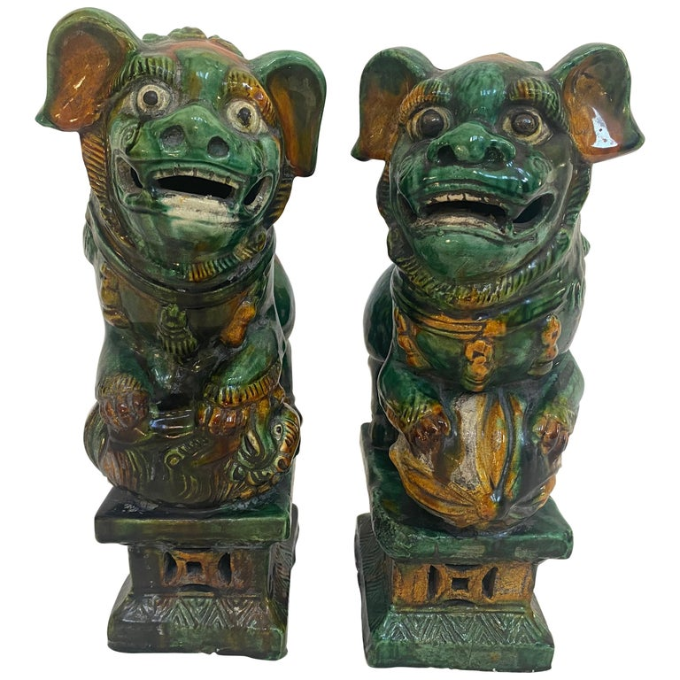 Pair of 19th Chinese Tri-Colored Glazed Foo Lions /Dogs For Sale
