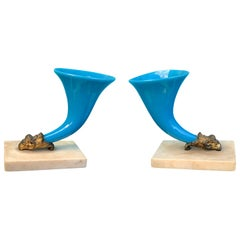 Pair of 19th-Early 20th Century Blue Opaline Glass and Bronze Cornucopias