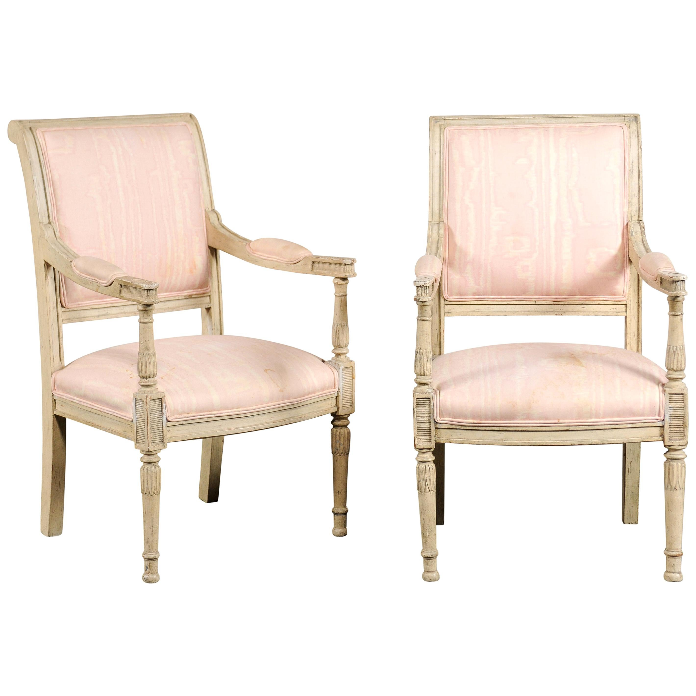 Pair of 19th-Early 20th Century French Child's Chairs, Painted Directoire Style