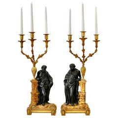 Pair of 19th Early Century Irish Giltwood Candelabra of Socrates and Plato