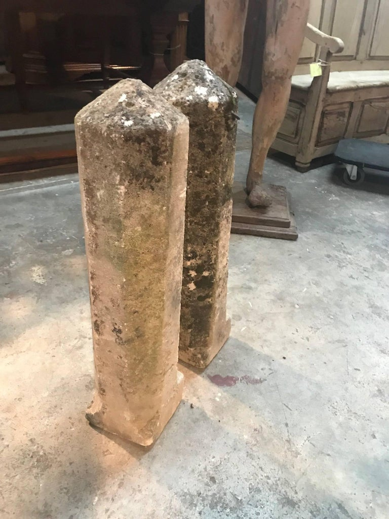 Pair of 19th French Stone Markers, Obelisks In Excellent Condition For Sale In Atlanta, GA