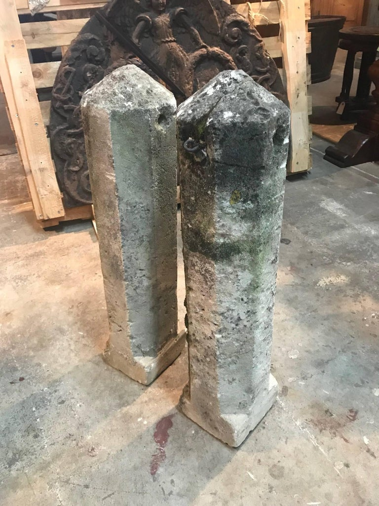 Pair of 19th French Stone Markers, Obelisks For Sale 1