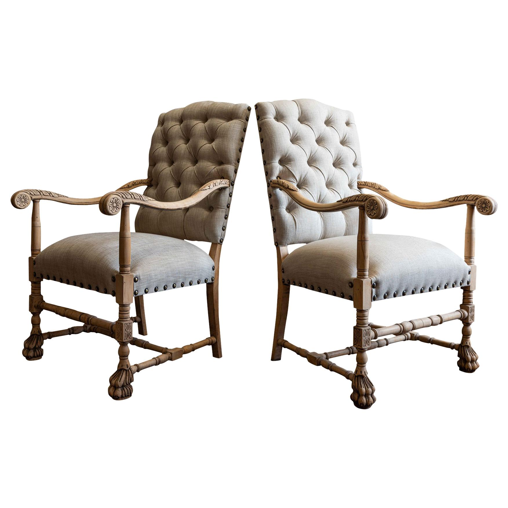 Pair of 19th Century French Library Armchairs Reupholstered in Linen