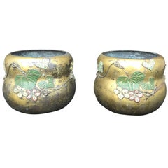 Pair of Japanese Gold Washed Bronze Cachepots with Polychrome Leaves