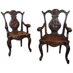 Pair of 19th Century Walnut Armchairs of Chinese Influence, 18th Century Style