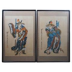 Pair of 2 Antique Woodblock Prints Mongolian Soldiers Warriors Samuris