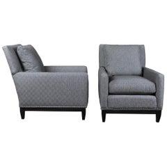 Pair of 2 Arhaus Camden Collection Modern Club Lounge Armchairs Grey Nailhead