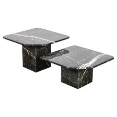 Pair of 2 Black Marble Square Top End Tables with Single Corner 'Fold'