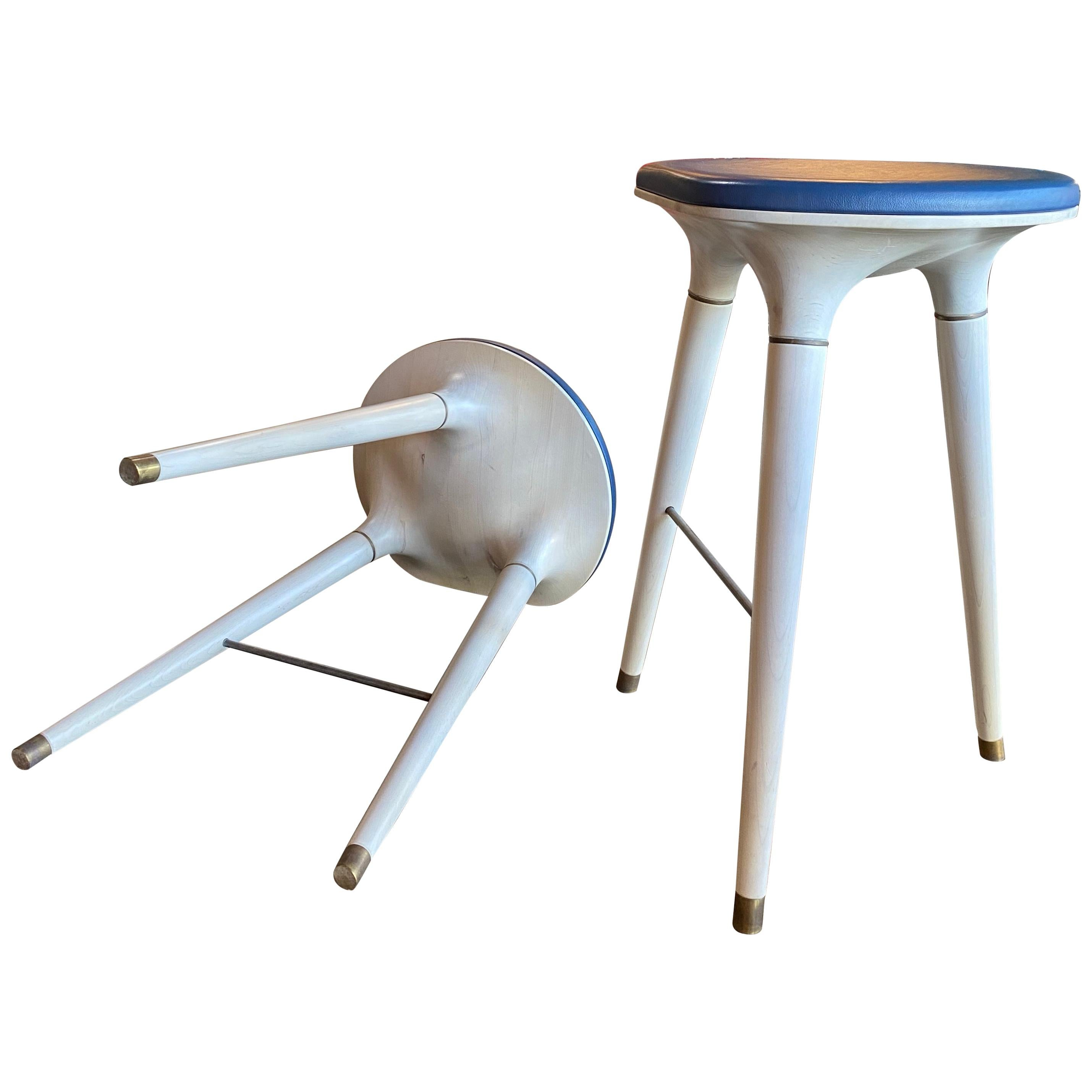 Pair of 2 Contemporary Stool in Carved Maple, Brass and Leather