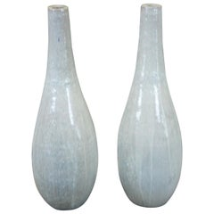 Pair of 2 Gray Ceramic Modern Drip Glaze Tall Floor Vases