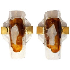 Pair of 2 Hand Blown Murano Glass Wall Lights or Sconces by J.T. Kalmar