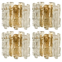 Pair of '2' Ice Glass Wall Sconces by J.T. Kalmar, Austria, for Christoph