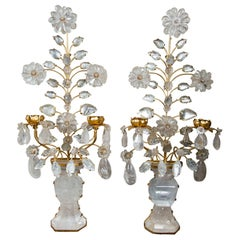 Pair of 2-Light Gilt Metal and Rock Crystal Wall Sconces