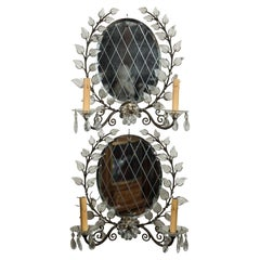 Pair of 2 Light Mirror Wall Sconces